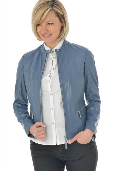 Blouson femme en cuir d'agneau bleu               title=