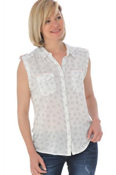 Chemise sans manches femme blanche avec imprimé noir              title=