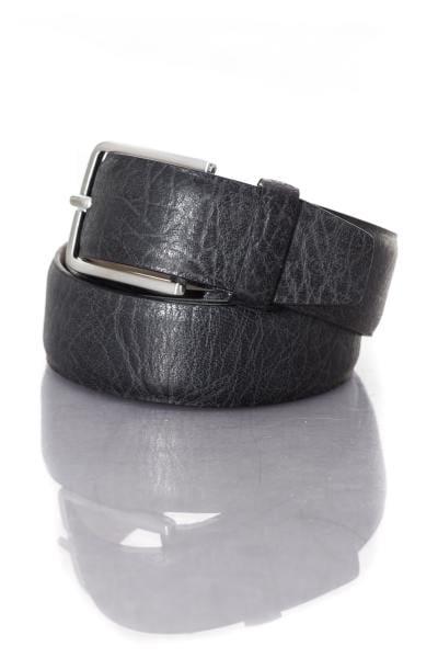Herren-Ledergürtel aus schwarzem Vachettenleder