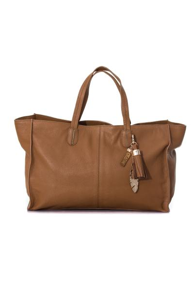 Sac shopper en cuir coloris tan              title=