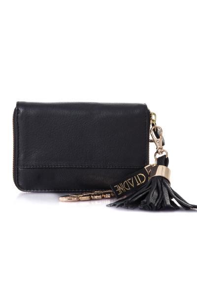Portemonnaie en cuir noir              title=