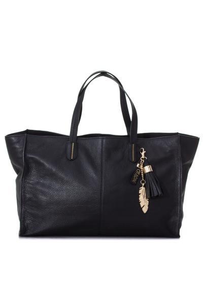 Grand sac en cuir de vachette noir              title=