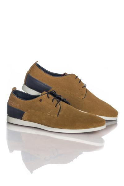 Derbies en cuir cognac aspect velours              title=