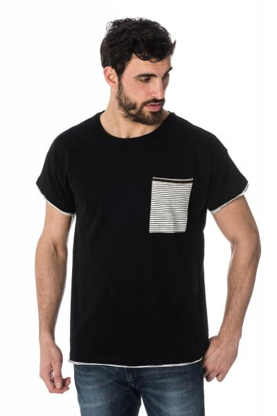 schwarzes Herren-T-Shirt mit gestreifter Tasche Antony Morato              title=