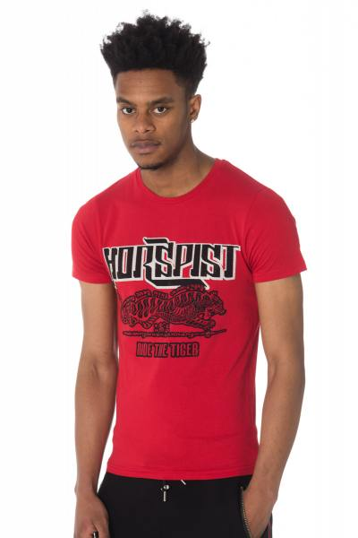 Tee-shirt Horspist rouge avec tigre et strass              title=