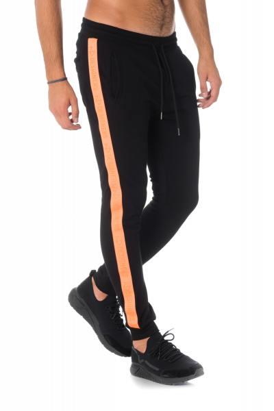 Pantalon de survêtement noir avec bande orange              title=
