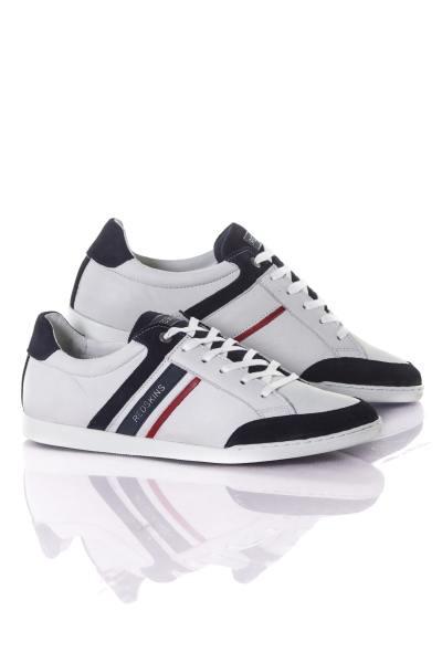 weiß-marineblaue Herren Leder Sneakers
