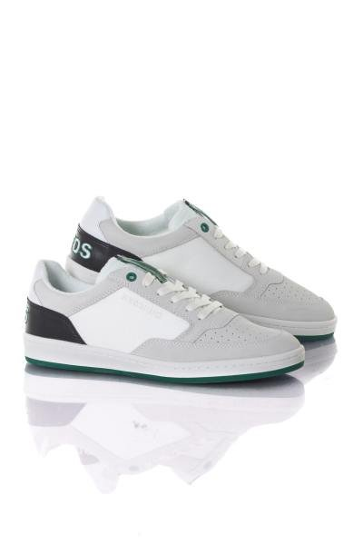 Herren Leder Sneakers in weiß schwarz grün              title=