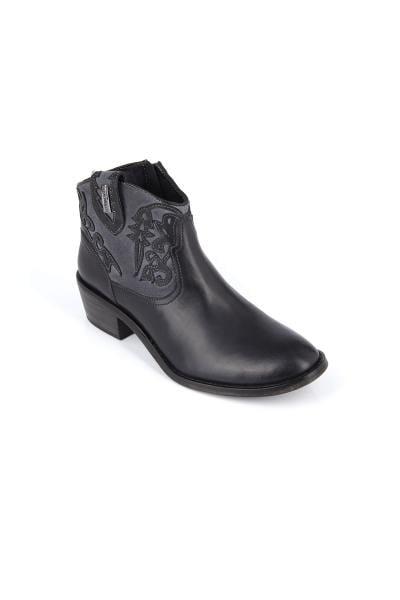Schuh aus Leder und schwarzem Stoff              title=