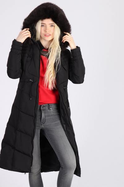Doudoune longue noire avec capuche              title=