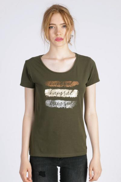 Bedrucktes khakifarbenes T-Shirt