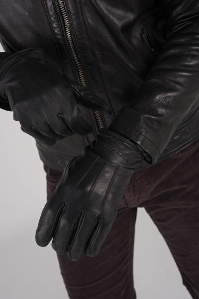 Schwarze Lederhandschuhe für Männer              title=