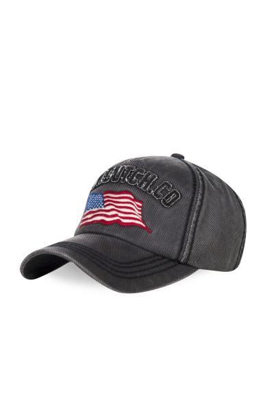 Casquette drapeau américain gris chiné              title=