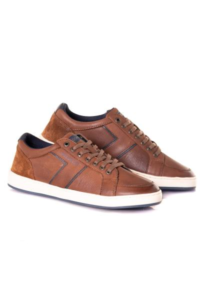 Baskets en cuir homme chaussures redskins MAIN BRANDY MARINE              title=
