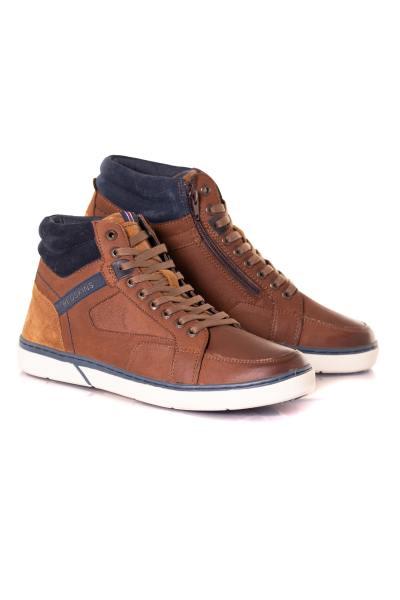 Chaussures montantes en cuir marron et bleue              title=