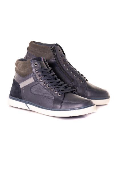 Chaussures montantes en cuir gris et bleu marine              title=