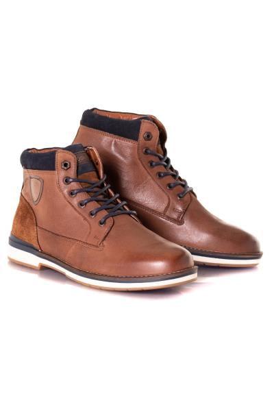 Boots en cuir marrons et bleues              title=
