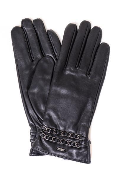 Gants élégants en cuir noir              title=