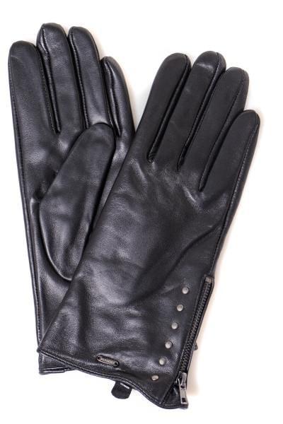 Gants en cuir noir pour femme              title=