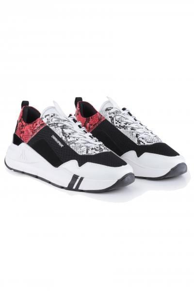 Sneakers en cuir effet python multicouleur              title=