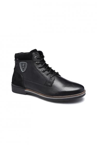 Schwarzer Stiefel Bi-Material Mann