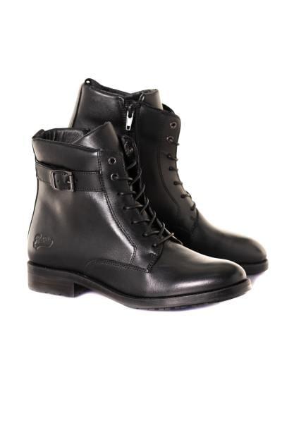 Schwarzer Echtleder-Stiefel