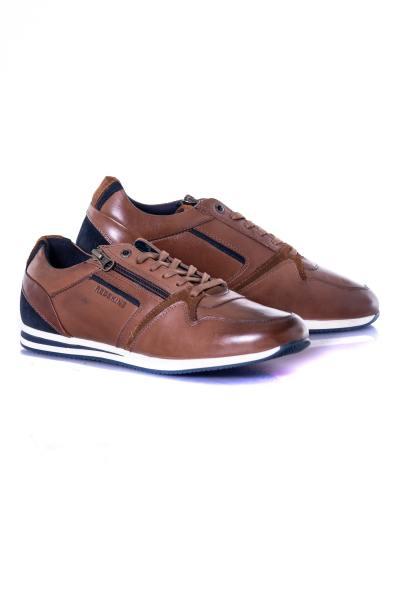 herren Ledersneakers chaussures redskins LUCIDE COGNAC MARINE
