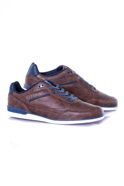 herren Ledersneakers chaussures redskins AURORE CHATAIGNE MARINE