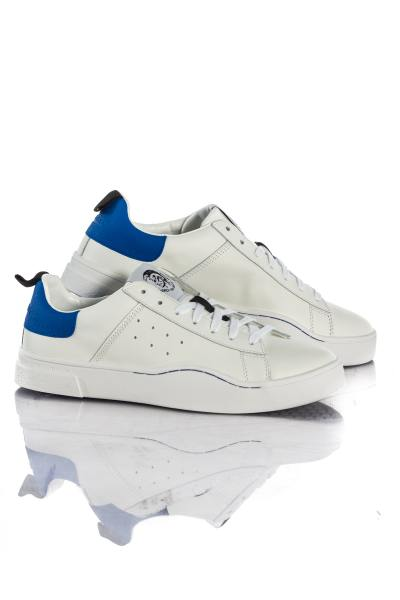 Baskets en cuir Homme Diesel S-CLEVER LOW WHITE BEILLIANT BLUE H4034