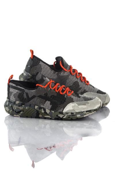 Basket en toile imprimé camouflage gris Diesel              title=