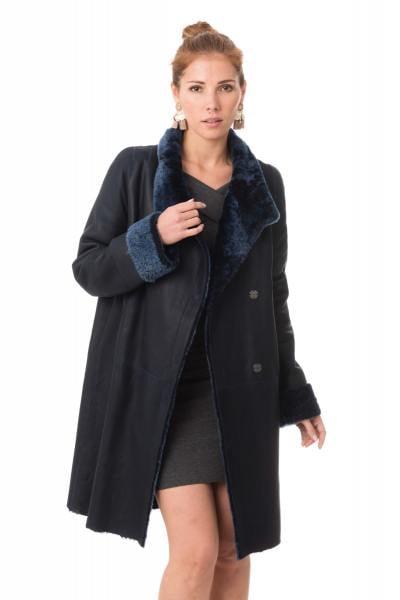Manteau en mouton retourné bleu marine
