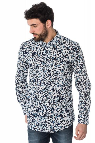 weiß/blau bedrucktes Hemd Antony Morato
