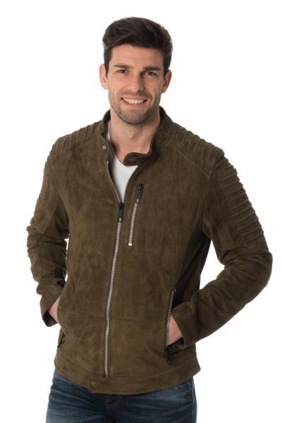 khakifarbene Jacke aus Ziegenleder              title=