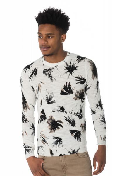 Herren-Pullover mit Blätter-Print