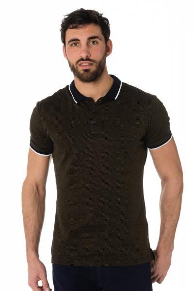 marineblaues Polo-Shirt mit gelbem Print Antony Morato              title=