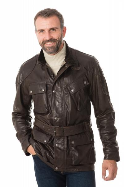 Veste Homme Belstaff PANTHER 4 POCKET BELTED JACKET MAN BLACK/BROWN