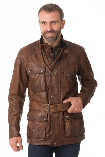 Veste Homme Belstaff PANTHER 4 POCKET BELTED JACKET MAN COGNAC