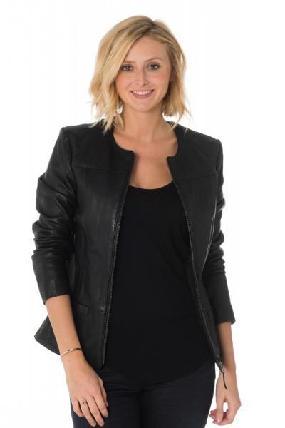 Spencer femme en cuir noir              title=