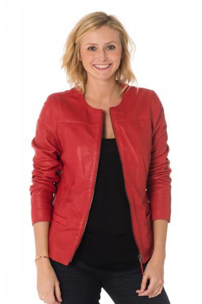 Spencer femme rouge en cuir de mouton              title=