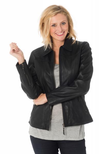 Blouson en cuir femme col chemise coloris noir              title=