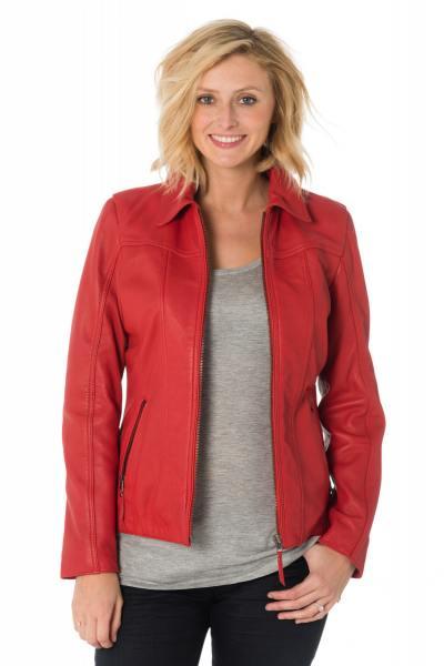 Blouson en cuir de mouton rouge femme col chemise Cityzen              title=
