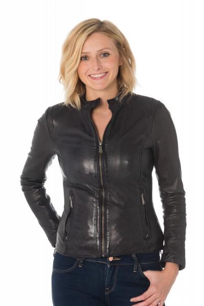 Blouson skinny femme en cuir de mouton noir              title=