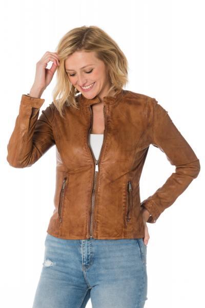 Blouson skinny femme en cuir de mouton cognac              title=