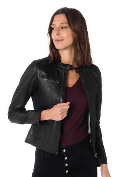 Blouson motard femme en cuir de mouton noir              title=