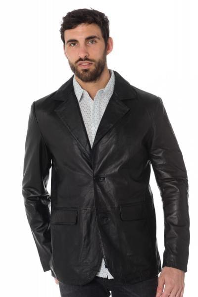 Blazer homme en cuir de mouton noir              title=