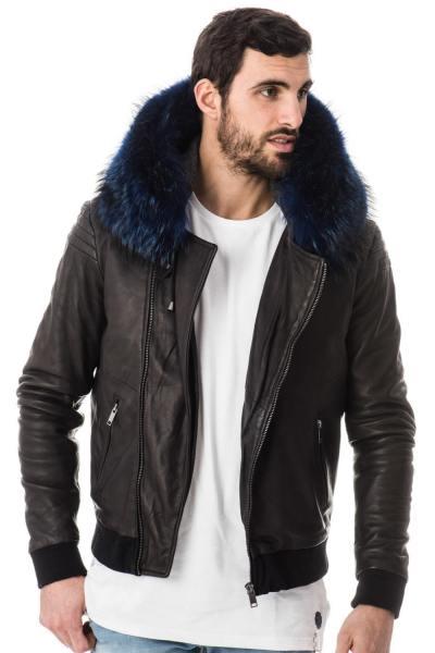 Blouson avec capuche en fourrure de raccoon bleu              title=