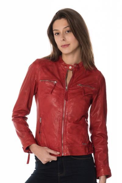 Blouson en cuir rouge femme              title=