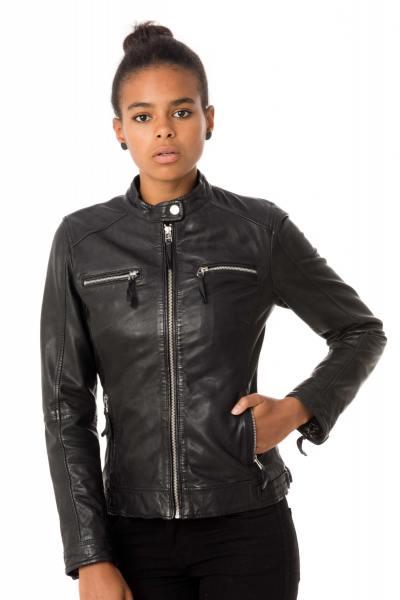 Blouson cuir noir femme col rond