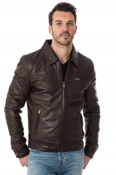 Blouson col chemise en cuir marron              title=