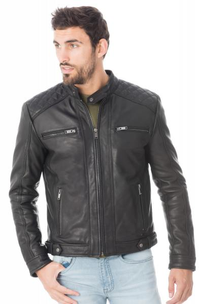 blouson cuir style moto homme cuir col motard blousons biker. Black Bedroom Furniture Sets. Home Design Ideas